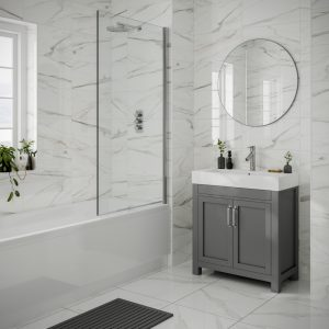 Anguilla White Gloss Marble Wall Bathroom Tiles 250 x 500mm Per Box