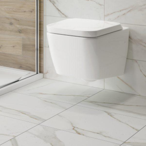 Anguilla White Marble Matt Wall & Floor Bathroom Tiles 500 x 500mm Per Box