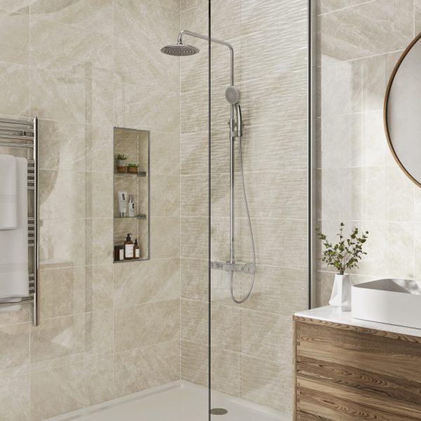 Antigua Ivory Wall Bathroom Tiles 250 x 500mm Per Box