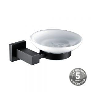 Guernsey Black Soap Dish & Holder In Black