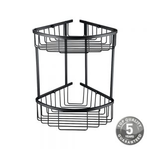 Guernsey Two Tier Corner Wall Fixed Wire Basket In Matt Black