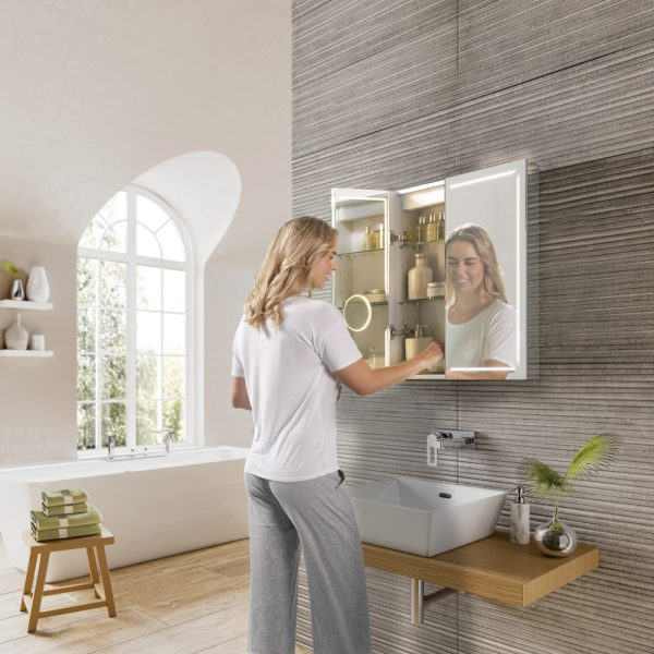 HIB Groove Bluetooth LED Illuminated Double Mirror Cabinet 600x700 & 800x700mm