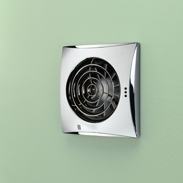 HiB Hush Extractor Wall Fan With Timer Control And Humidity In Chrome
