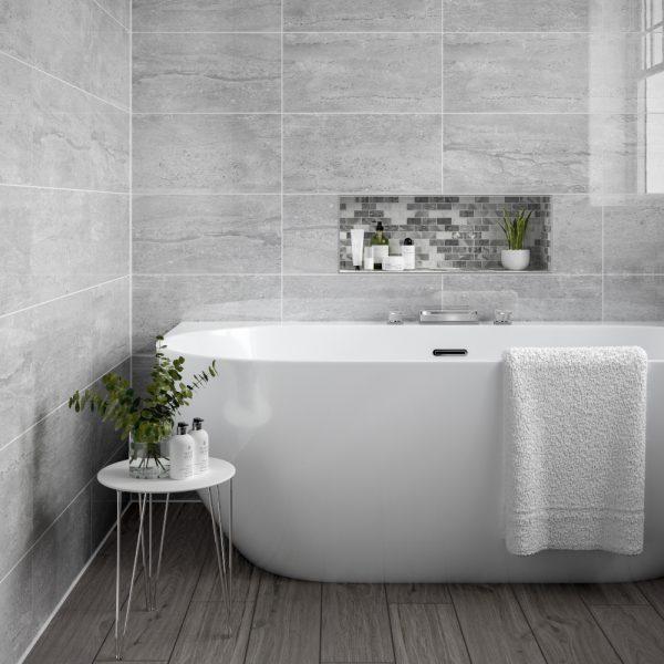 Montserrat Light Grey Tiles 250 X 500mm Per Box Wall Tiles