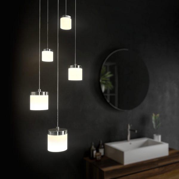 HiB Peak Bathroom Pendant Lighting Ceiling Fitting In Chrome