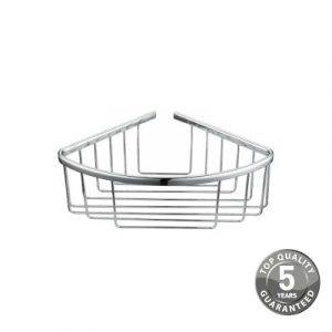 Resolve Corner Wall Fixed Deep Wire Basket In Chrome