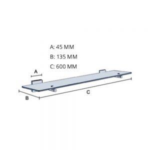 Smedbo House Glass Shelf 600mm in Chrome