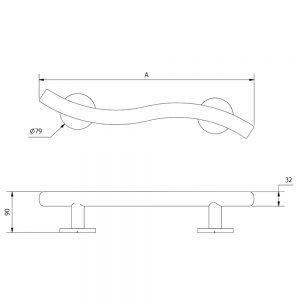 Style Luxury Grab Rail Concealed Fixings Multiple Lengths In Matt Black Curved