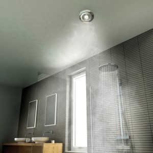 HiB Turbo Timer Inline Ceiling Fan With Cool Light In Chrome