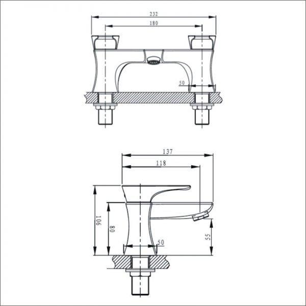 Bristan Hourglass Bath Filler In Chrome
