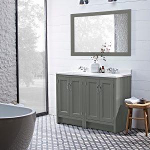 Hampton 1200mm Floor Standing Vanity Unit & Basin With Arctic Worktop, In Four Colours