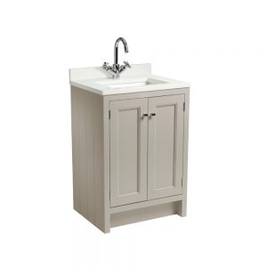 Hampton 600mm Floor Standing Vanity Unit & Basin With Arctic Worktop, In Four Colours