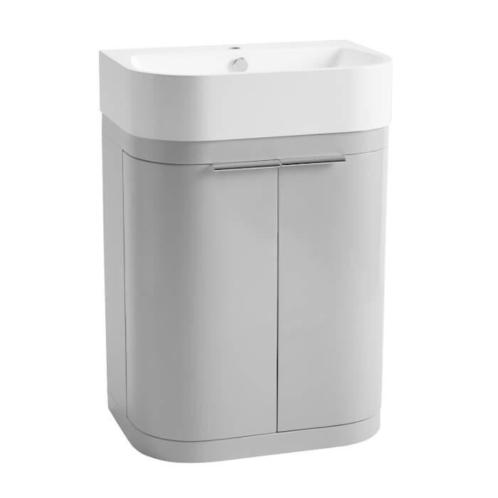 Lemos 600mm Floor Standing Vanity Unit & Basin Top In Grey
