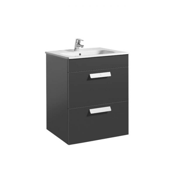 Roca Debba Standard 600mm Wall Mounted Two Drawer Unit & Basin