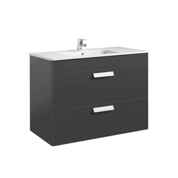 Roca Debba Standard 800mm Wall Hung Vanity Two Drawer Unit & Basin