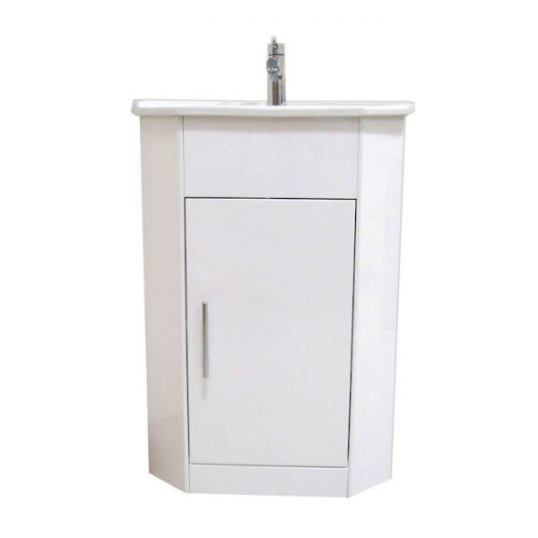 Alpine Corner Vanity Unit & Basin 410mm In White