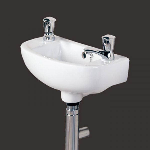 Compact Cloakroom Basin 2 Tap hole 450mm