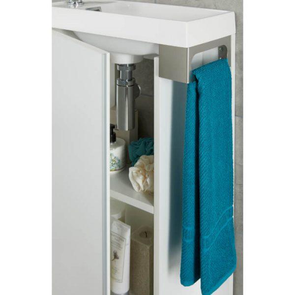 Duo 500mm Slimline Cloakroom Vanity Unit & Basin In Wood Grain White