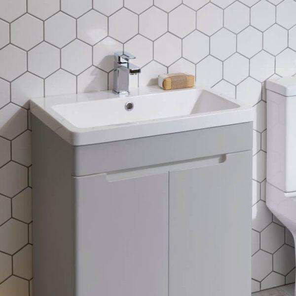 Kirk 600mm Floor Standing Vanity Unit & Basin In Grey or White