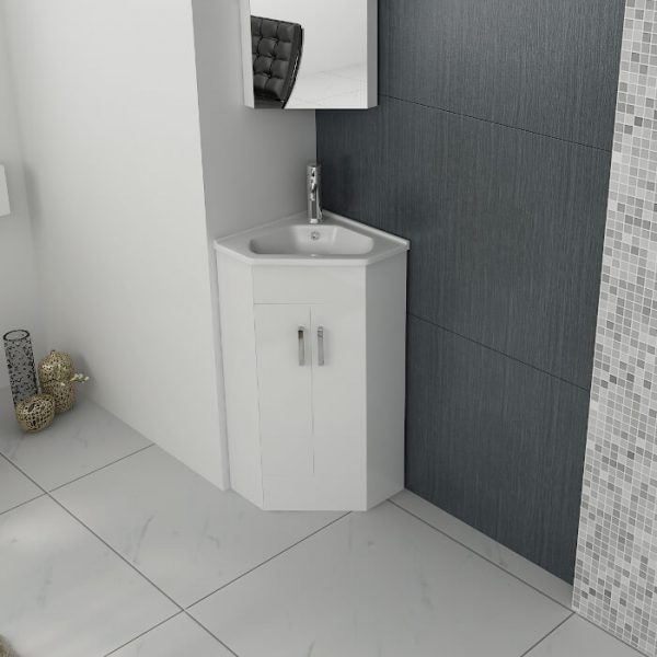 New Alpine Corner Vanity Unit & Basin 410mm In White