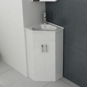 New Alpine Corner Vanity Unit & Basin 410mm In White