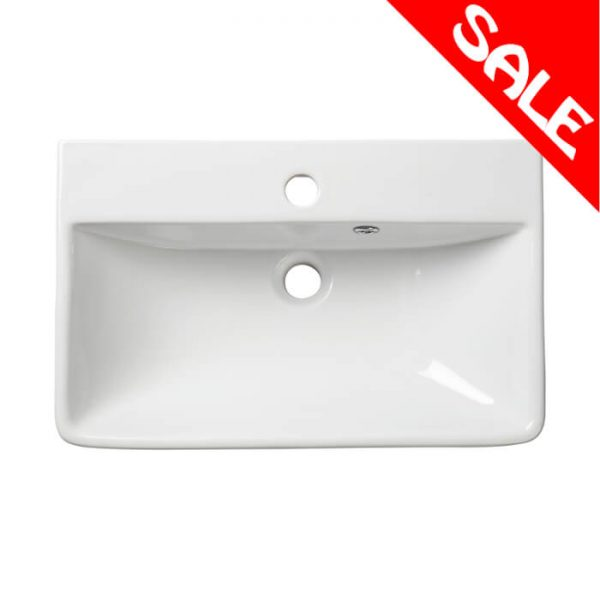 New Era 560mm Square Slim Semi Recessed Basin 1 Tap hole