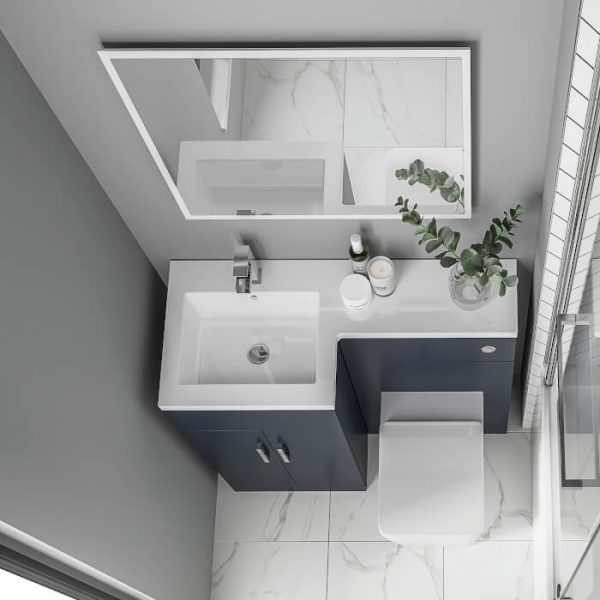 Serena L-Shaped Combination Vanity & WC Unit 1070mm In Three Colours