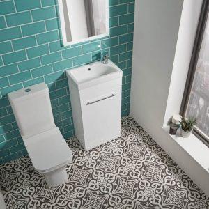 Tilos 570mm Cloakroom Vanity Unit & Basin In White & Grey