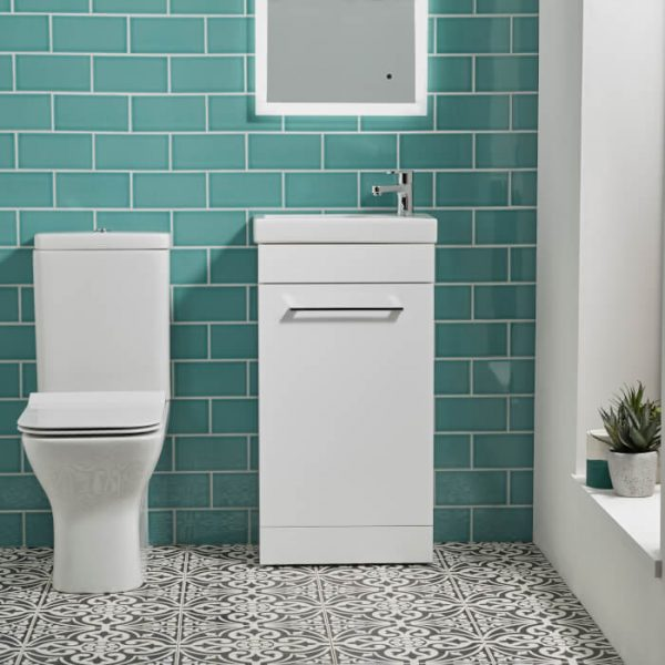 Tilos 570mm Cloakroom Vanity Unit & Basin In White & Grey