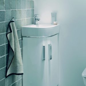 Twyfords E200 Corner Vanity Unit & Basin 320mm In Grey or White