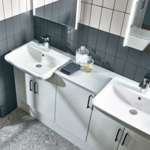 Eros 550mm Square Semi Recessed Basin 1 Tap hole