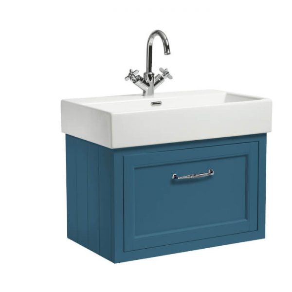 Hampton 700mm Wall Hung Draw Unit & Basin In Six Colours