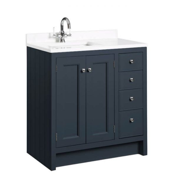 Hampton 800mm Vanity Unit & Basin With Arctic Top, In Six Colours