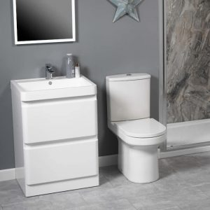 Lance 600mm Floor Standing Draw Unit & Basin In White Gloss