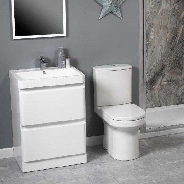 Lance 600mm Floor Standing Draw Unit & Basin In White Gloss