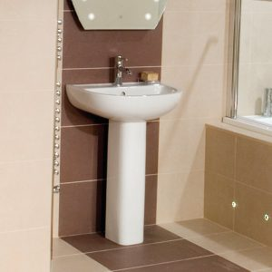 Compact 550mm Basin & Full Pedestal 1 Or 2 Tap Hole