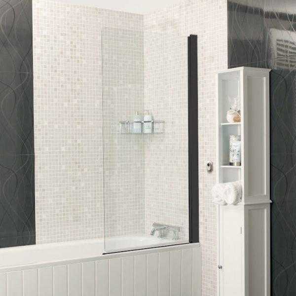 IN6 V2 Power Shower Square Bath Screen In Black