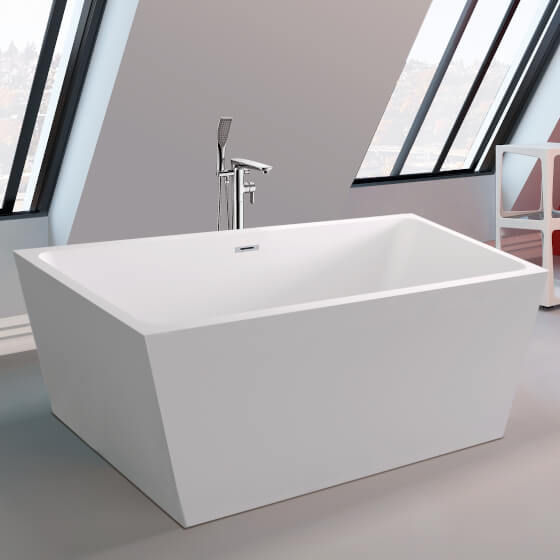 K2 Square Freestanding Bath Double Ended 1700x800mm