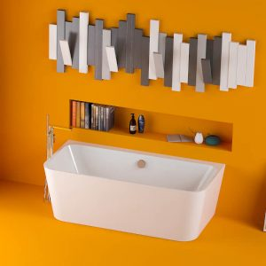 Pura Ravine Back To Wall Freestanding Puracast Bath 1500x750mm In White