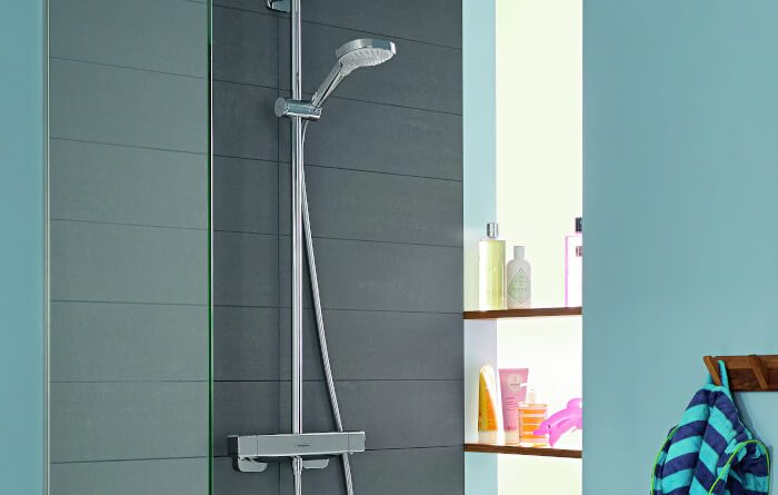 Hansgrohe Crometta Deluxe Square HP Dual Outlet Thermostatic Shower