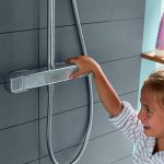 Hansgrohe Crometta Deluxe Square HP Dual Outlet Thermostatic Shower close up