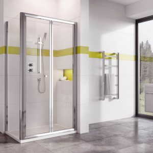 IN6 Bi-Fold Shower Door In Chrome 900mm Wide