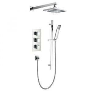 Lance Pack 5 Square Concealed Shower Valve, Fixed Head & Riser Kit