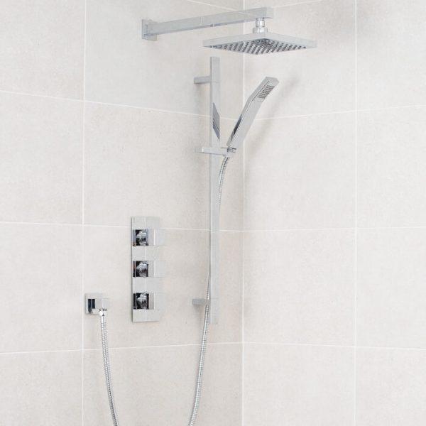 Lance Pack 5 Square Concealed Shower Valve, Fixed Head & Riser Kit