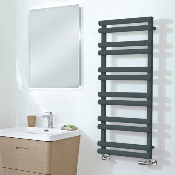 Totti Anthracite Straight Towel Rail 500mm Wide Multiple Heights