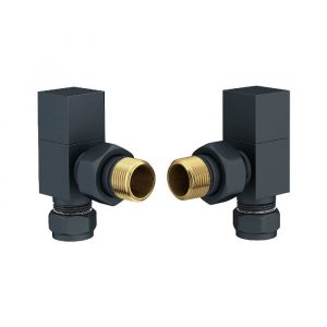Square Angled Radiator Valves In Anthracite 15mm (Pair)