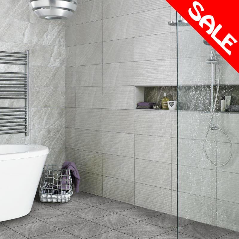 Ditto Diana Wave Grey Ceramic Wall Bathroom Tiles 248x498