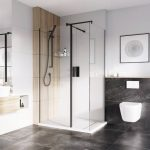 IN10 Wetroom Panel 8mm With Black Profile 400 to 1200mm lifestyle2