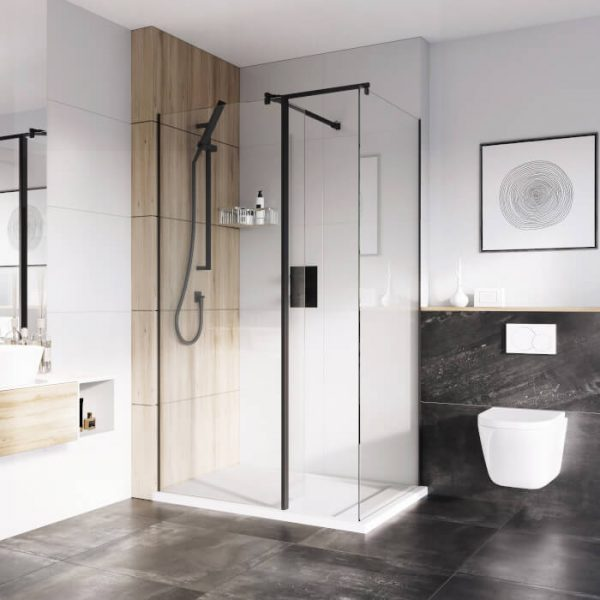 IN10 Wetroom Panel 8mm With Black Profile 400 to 1200mm