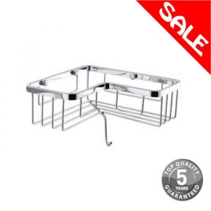 Simply Corner Wire Caddy Basket with Hook In Chrome